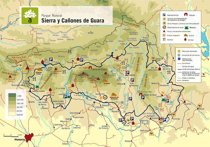 carte de la sierra et canyons de la sierra de guara